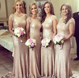 Wholesale Sequined Short Dresses - Plus Size Elegant Vestido De Mermaid Women's Long Champagne Sequined Bridesmaid Dresses 2015 Short Sleeve Wedding Party Bridesmaid Gowns