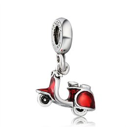 Wholesale Motor Fit - Motor Cycle Pendant Charm With Red Enamel European Charm Fit For 925 Sterling Silver Snake Chain Bracelet DIY Jewelry