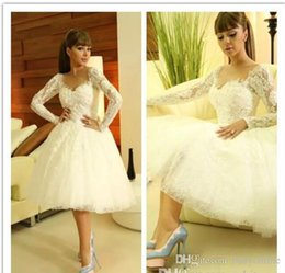 Wholesale Little Miss Princess Dresses - Myriam Fares Arabic A Line Wedding Dresses Long Sleeves Lace Sheer Little White Tea-length Summer Beach wedding Party Dresses