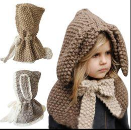 Wholesale Toddler Girls Scarves - KIDS Warm Winter Rabbit Ear Hat Cap Scarf Toddler Boy Girl Baby Cloak Scarf Hat Earflap Rabbit Ear Cap KKA3454