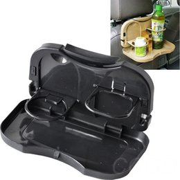 Wholesale Desk Drink Meal - Black color Collapsible Travel Dining Tray Car Food Table Desk Stand Meal Drink Cup
