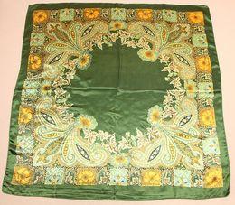 Wholesale Silk Fabric Wholesalers - 2017 autumn women Elegant office imitation silk fabric scarfs square 90*90cm waist drum flowers dancing scarf wholesale free shipping