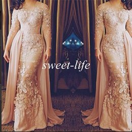 Wholesale Removable Prom Dress Sheath - Special Occasion Dresses Saudi Arabia 2015 Plus Size Sheer Neck Long Sleeve Mermaid Removable Train See Through Lace Prom Evening Dresses