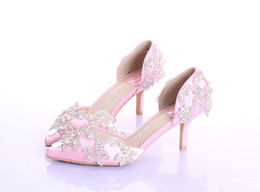Wholesale Photos Kittens - Exquisite Pink Rhinestone Wedding Shoes Pointed Toe Party Prom Shoes Bride Wedding Photo Shoes Wedding Banquet Shoes