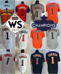 Wholesale Navy Blue Stars - Houston #1 Carlos Correa Navy Blue Gray Road WBC White Pink Orange Showrrea All-Star Stitched 2017 WS Champions Patch Strong Jersey