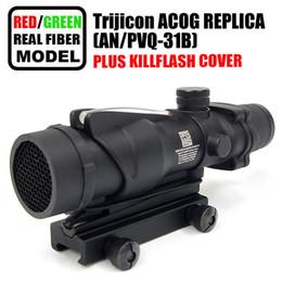 Wholesale Trijicon Acog Scopes - Trijicon ACOG 4x32 Fiber Optics Scope w  Real Red Green Fiber Crosshair Riflescopes come with Kill Flash cover
