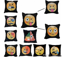 Wholesale Funny Christmas Decor - New Cosplay Emoji Sequins Pillow Case Poop Pillow case Double Colors Faces Expression Mermaid Pillow Covers Home Sofa Car Decor Cushion Gift
