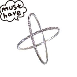 Wholesale long sterling rings - Wholesale-latest Jewelry 925 Sterling silver rhodium plated micro pave cubic zirconia long ring X cross rings for womem