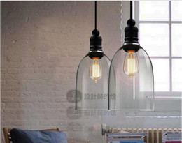 Wholesale Hanging Crystal Glass - Modern Crystal Bell Glass Pendant Lights Glass Hanging Light Droplight Edision Pendant Lamps Dining Room Indoor Contemporary Lighting E27