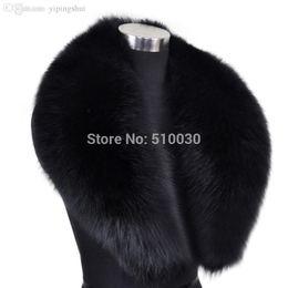 Wholesale Real Fur Scarfs - Wholesale-100cm Men Genuine Fox Fur Collar Fur Muffler Real Fur Scarf Fur Accessory Women Wrap Wholesale Retail OEM Free Shipping