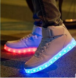 Wholesale Top Quality Led Grow Lights - quality 3 Colors Men LED Shoes Autumn Winter High Top Growing Shoes For Man Luminous Lights Shoes White  Black Dropshipping