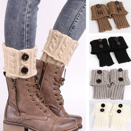 Wholesale One Button Boot - 1lot=2pcs Winter Warm Women Knitted Socks Leg Warmer Button Crochet Knit Boot Socks Toppers Cuffs Beauty Decors Sock Warmers Christmas Gifts