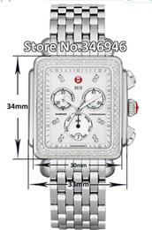 Moda deco online-Relojes de lujo Nueva pulsera de acero Michele Deco Diamond Cronógrafo / Día / Fecha Totalmente funcional Reloj de cuarzo Vestido de moda para mujer Relojes
