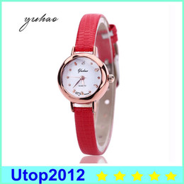 Wholesale Hot Cheap Leather Dresses - Utop2012 Hot Sale Casual Gold Round Women Fashion Watch Dress Female Cheap Jewelry Electronic Quartz Wristwatch XR1864