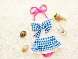 Wholesale Girls Plaid Swimsuits - Children bikini swimsuits girls cute Bow plaid falbala skirt split swimwear 2pcs sets Fashion New kids spa beach swimwear 7206