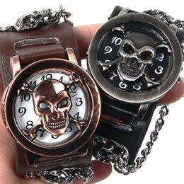 Wholesale Watch Covers Leather Bands - mens watches luxury sport watch skull Wristwatch genuine leather band with cover hip hop quartz wrist watch