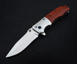 Wholesale Hand Forging Knives - 100% Hand-forging Pocket Folding Knife 3Cr13Mov Stainless Steel Hunting Knives Red Wood Handle Self-defense Survival Tools