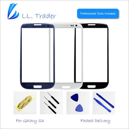 Wholesale Galaxy Lens Kit - Wholesale-LL. Trader Front Top Outer Screen Lens touch panel Glass Cover Replacement For Samsung Galaxy SIII S3 I9300+Adhesive+Tools Kit