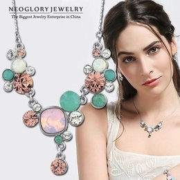 Wholesale Neoglory Necklace - Neoglory MADE WITH SWAROVSKI ELEMENTS Crystal Rhinestone Fashion Chain Choker Necklaces for Women Pendant Gifts 2015 Brand JS1