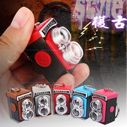 Wholesale Rock Roll Toys - Retro vintage camera pearl chain sound light keychains flashlight sound ring cartoon toys rock n roll keychains child gift pendant