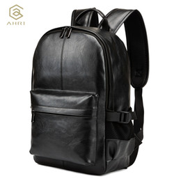 Wholesale Pretty Males - AHRI NEW Pretty Style PU Leather Men Black 15 inches Backpack Fashion Male Casual Boys School Shoulder bags for Men's Backpack