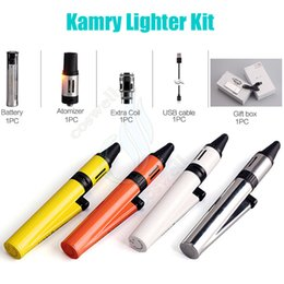 Wholesale Cigarette Lighter Kit - Authentic Kamry Lighter Starter Kit 1300mAh battery 2ml 0.1~3.3ohm atomizer Lighter Style Vapor Mods kits e cigarettes Portabl Vape pen DHL