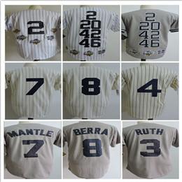 Wholesale 1969 Baseball - 2017 Throwback Mens Stitched 2 Derek Jeter 7 Mickey Mantle 3 Babe Ruth 8 Yogi Berra 1969 White Cream Grey Baseball Jerseys