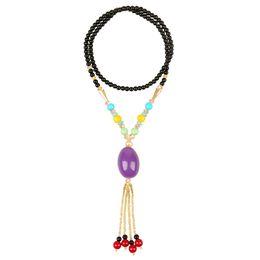 rosario di cristallo bianco Sconti Collana grande perline foro La cera d'api ciondoli di cristallo cinese gioielli tibet per le donne maglione catena gioielli a strati collana gioielli di moda