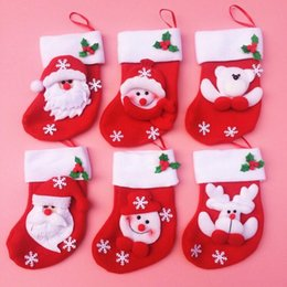 Wholesale Christmas Stocking Santa Socks - Mini Christmas stockings 3.5*6.3inch Christmas sock Santa non-woven gift bag Christmas ornaments free shipping CT05