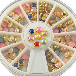 Wholesale Glitter Gold Nail Art - 2016 New Arrive Fashion Colorized Rhinestones For Nails Gold Alloy Nail Art Glitter Studs Stickers Decoration NA430