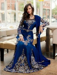 Wholesale Moroccan Dress Dubai - 2015 Royal Blue Dubai Kaftan Beaded Long Sleeves Moroccan Dress Gorgeous Scoop Crystal Rhinestones Chiffon Party Gowns
