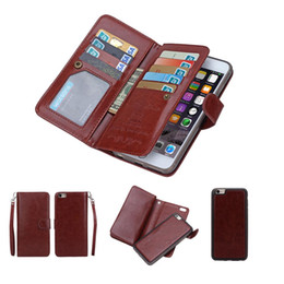 Wholesale Function Flip - 2 in1 Magnetic Detachable Removable Case Multi-function 9 Card Slots PU Leather Wallet Flip Cover For iPhone 5s 6 6s Plus S5 S6 Edge Note 4