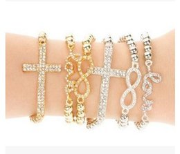 Wholesale Sideways Metal Cross Bracelet - 10PCS Wholesale CHARM Cross   Infinity   Bar Beads Sideways Connector Bracelets Metal Beaded Jewelry