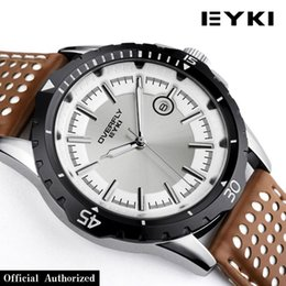 Wholesale Eyki Watch Steel Band - TGJW672 EYKI luxury men japan movt quartz watch stainless steel back quartz watches pu leather band wrist watch with calendar