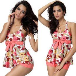 Wholesale Xl Tankinis - 2015 two pieces swimsuit women swimwear push up tankinis set floral parttern summer ladies swimwear plus size M-2XL