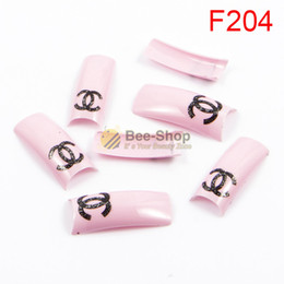Wholesale Wholesale Acrylic Tips - 100pcs Flowers pattern red body design half cover french nail art tips acrylic half false nails art fake nail tips F204
