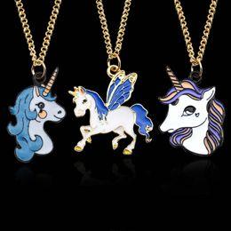 Wholesale Kids Animal Necklaces - New Enamel Pegasus Unicorn horse Necklace Colorful animal pendant Fashion Jewelry for Women Kids Christmas Gift 162543