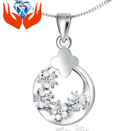 clover resin Promo Codes - original silver beautiful moon stars red clover S925 Sterling Silver Pendant Crystal short chain clavicle