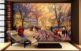 Wholesale Paper Towns - bathroom wall paper Wood carving woodworking effect Europe and the United States rural town Christmas oil painting TV wall