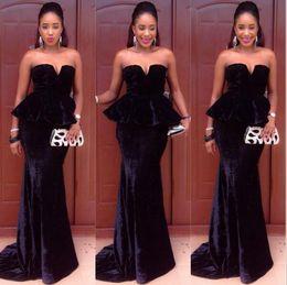 Wholesale Ankara Dresses - Black Velvet African Evening Gowns Long Mermaid Prom Dresses with Peplum 2016 Nigerian Ankara Dress Vestido Longo Para Festa