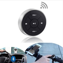 Wholesale Iphone Handlebar - Hot Wireless Bluetooth Remote Control Media Button for Car Steering Wheel Motorcycle Bike Handlebar for iPhone 5 6 7 for Samsung Android