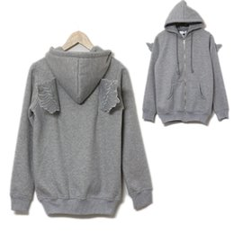 Wholesale Angels Jackets - Casual Womens Back Angel Wings Fleece Hoodie Zip Up Sweatshirt Coat Jacket Tops Hot FG1511