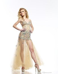 Wholesale Dres Beads Sequins - Wholesale - 2015 Most Sexy Spaghetti Prom Formal Dresses Transparent Tulle A-Line Crystal Beads Sequins Piping Open Back Backless Party Dres