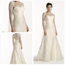 Wholesale White Leaf Applique - 2016 Lace A-Line Wedding Dresses Illusion neckline 3 4 sleeves with leaf-like beaded lace applique on shoulders and skirt CWG704 Plus Zise
