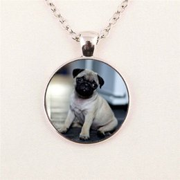Wholesale Dog Pictures - free shipping Wholesale Two Dogs Necklace Pendant Art Glass Necklace Personalized Picture pendant jewelry glass gemstone necklace 224