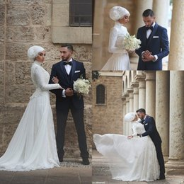 Wholesale Arabic Princess Style - 2016 New Vintage High Collar Long Sleeves Muslim Wedding Dresses Lace Middle East Style Tiered Skirts Arabic Long A-line Bridal Gowns BA1008