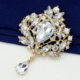 Wholesale Charms Pins - Luxury Acrylic Multicolor Water Drop Rhinestone brooches for women Wedding charm Jewelry Pin Brooches Crystal 11 Colours Free Shipping