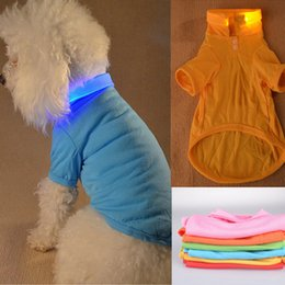 Wholesale Halloween Led Shirts - New Arrival LED Pet Clothes Night Safety Light Up Dog Polo T-shirt Small Dog Clothes 6 Colors 5 Sizes