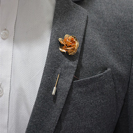 Wholesale Mens Flower Lapel Pins - 2016 High Quality Handmade Flower Boutonniere Stick Brooch Pin Mens Accessories Men Lapel Pin Brooch Flower Suit