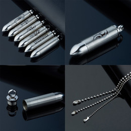 Wholesale Pills For Men - Wholesale! Urn Pendant Necklace Stainless Steel Cylinder Pill Case Cremation Bullet Lovers Memorial Couples keepsake Jewelry For Men Women